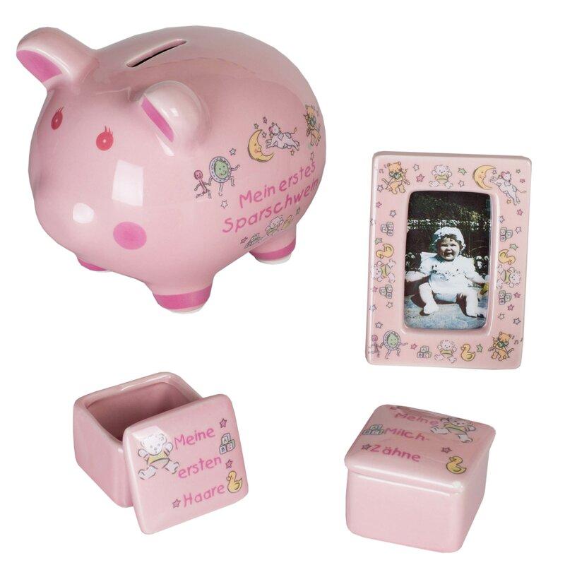 Babyset rosa 27 x 17 cm mit Sparschwein Fotorahmen und 2 Dosen ...