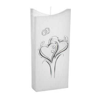 Hochzeitskerze Quader hoch mit Herz Modell 102 silber - Kerzen zum ...