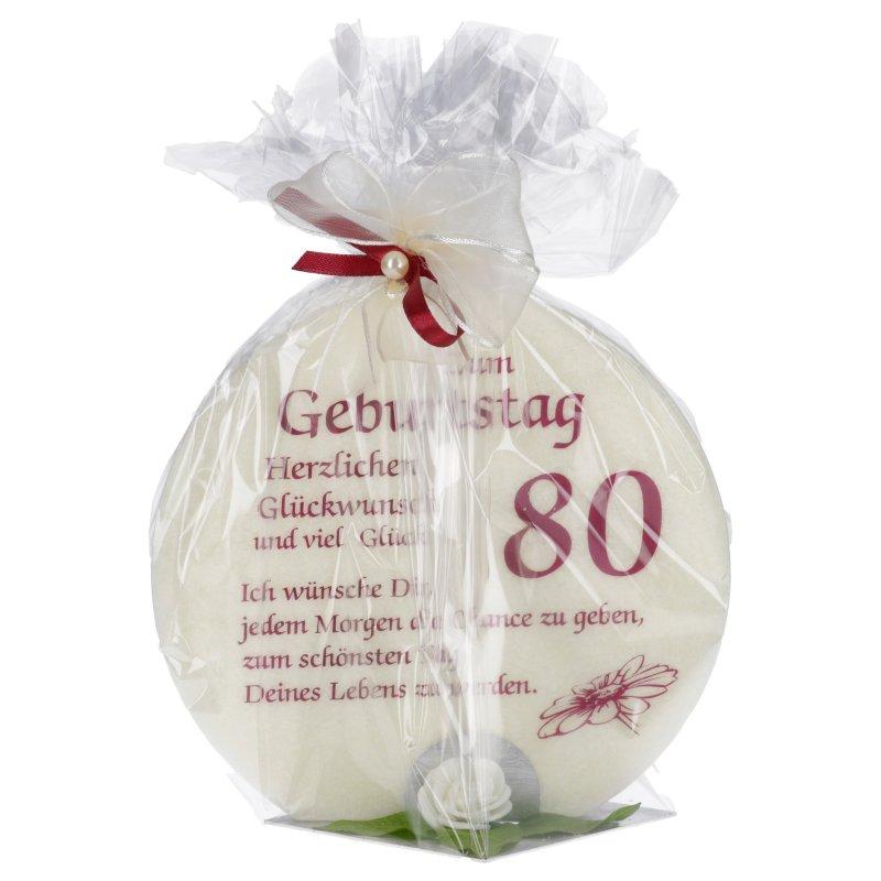 Jubiläumskerze zum Geburtstag 80 Jahre mit Spruch - Kerzen ...