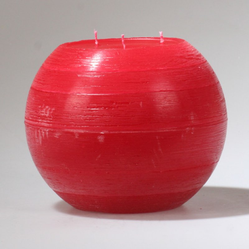 kugelkerze rustik 3 docht 200 mm rot kerzen zum bestpreis bei ke 22 00. Black Bedroom Furniture Sets. Home Design Ideas