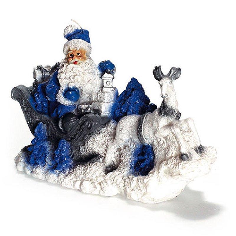 weihnachtsmann mit schlitten blau kerzen zum bestpreis