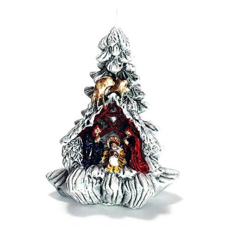 weihnachtsbaum mit krippe klein kerzen zum bestpreis bei kerzenwelt 15 00. Black Bedroom Furniture Sets. Home Design Ideas