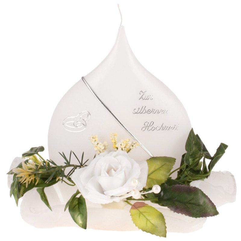 Hochzeitsfächerkerze klein mit Diskus zur silbernen Hochzeit - Kerzen, 17,00